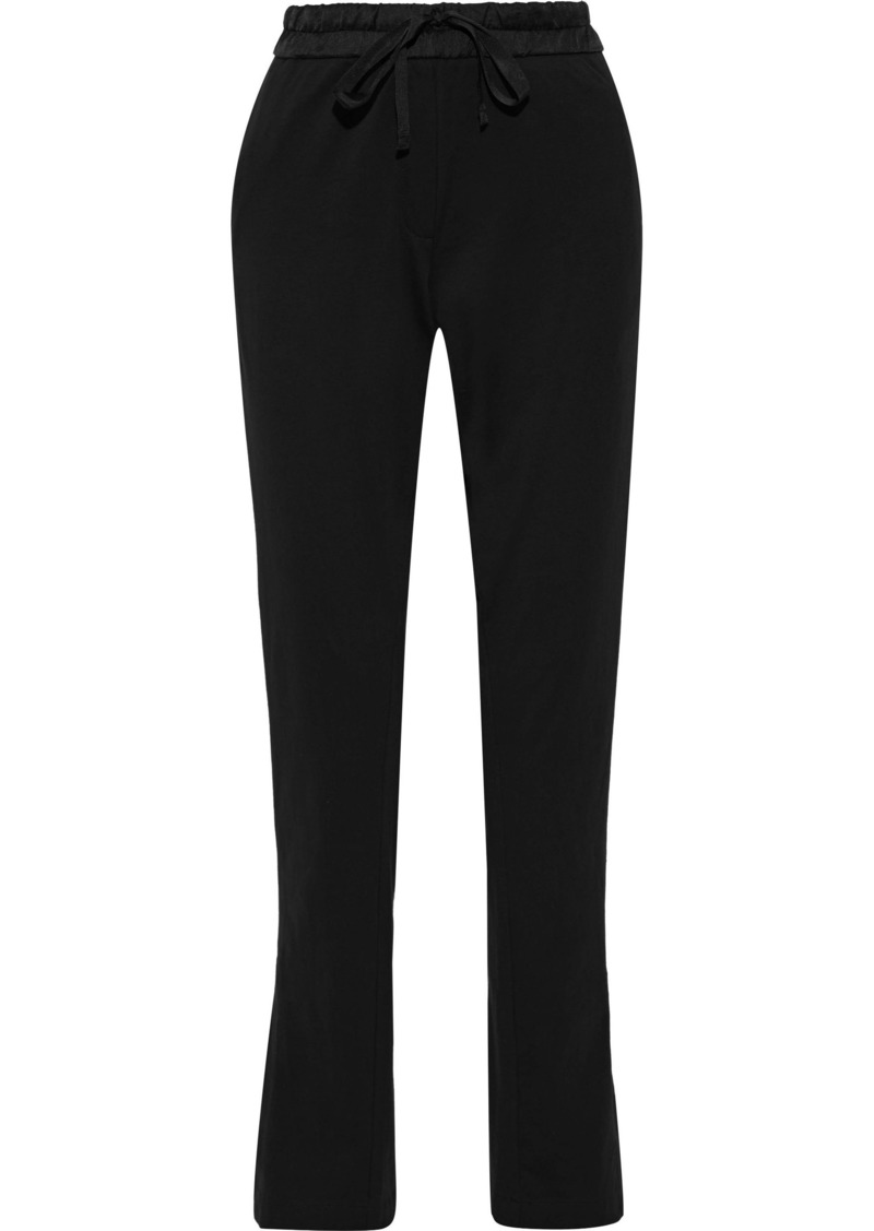 Ann Demeulemeester Woman Satin-trimmed Cotton-jersey Slim-leg Pants Black