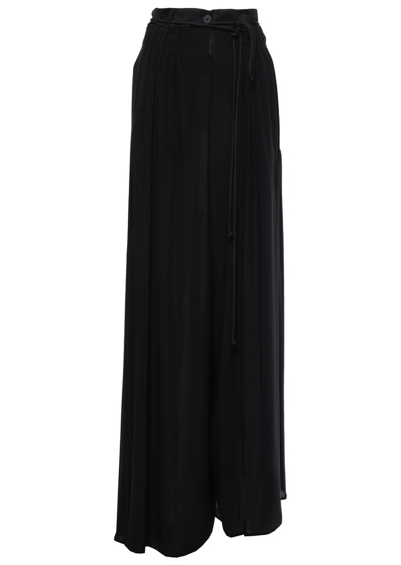 Ann Demeulemeester Woman Satin-trimmed Woven Wide-leg Pants Black