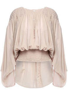 Ann Demeulemeester Woman Shirred Cotton And Cashmere-blend Gauze Blouse Blush
