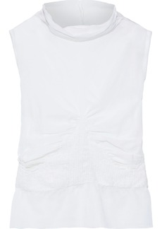 Ann Demeulemeester Woman Shirred Cotton And Cashmere-blend Gauze Top White
