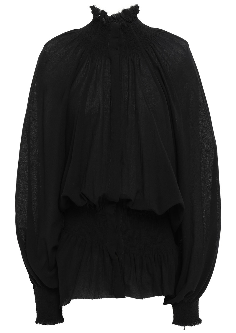 Ann Demeulemeester Woman Shirred Cotton-gauze Blouse Black