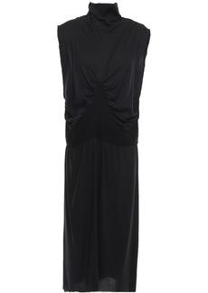 Ann Demeulemeester Woman Shirred Crepe Turtleneck Dress Black