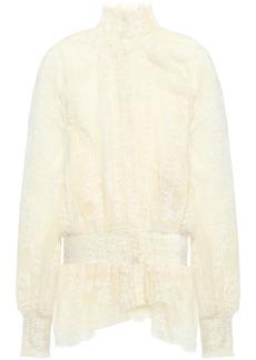 Ann Demeulemeester Woman Shirred Embroidered Cotton-blend Gauze Blouse Ecru