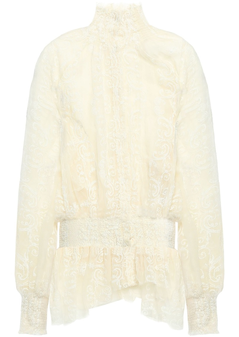Ann Demeulemeester Woman Shirred Embroidered Cotton-blend Gauze Blouse Ecru