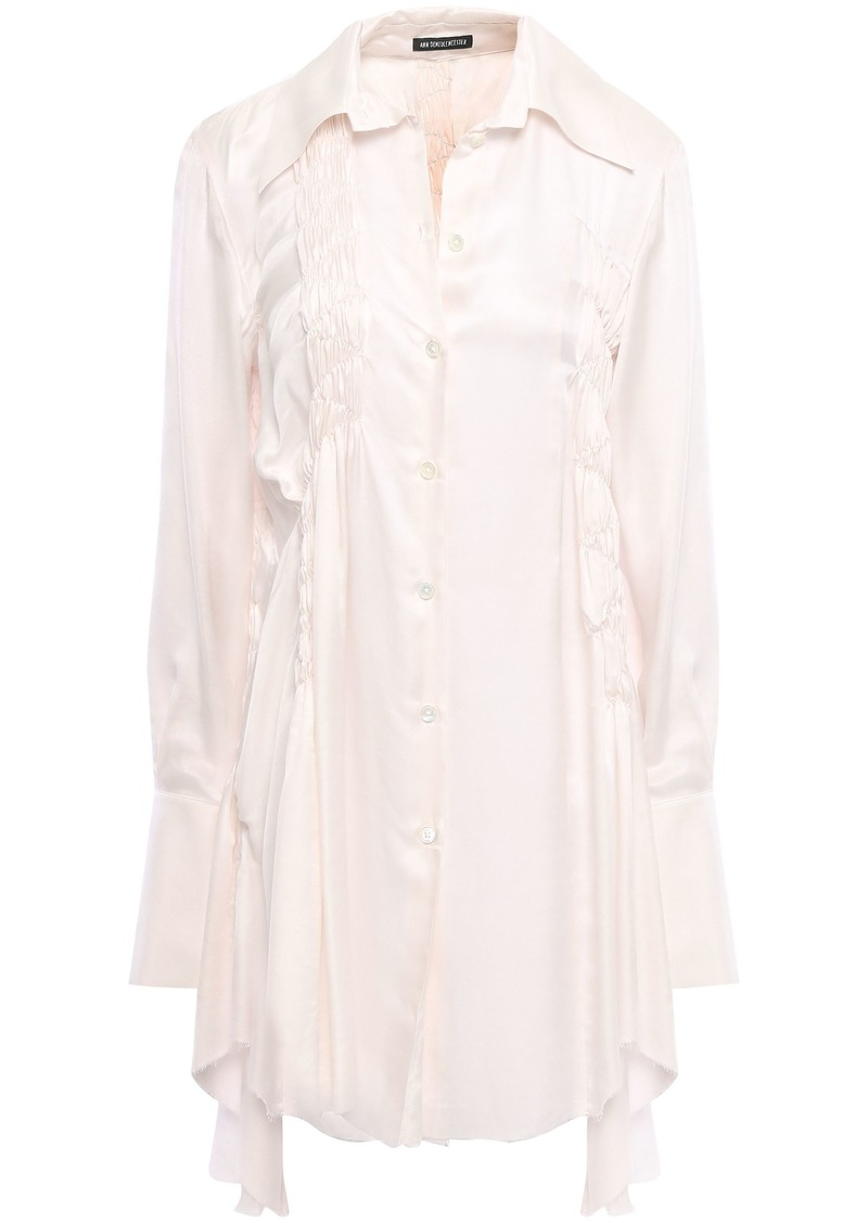 Ann Demeulemeester Woman Shirred Mousseline Shirt Pastel Pink