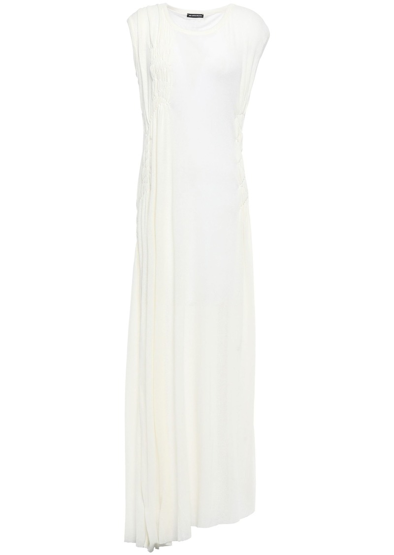 Ann Demeulemeester Woman Shirred Ribbed Cotton And Cashmere-blend Jersey Maxi Dress Off-white