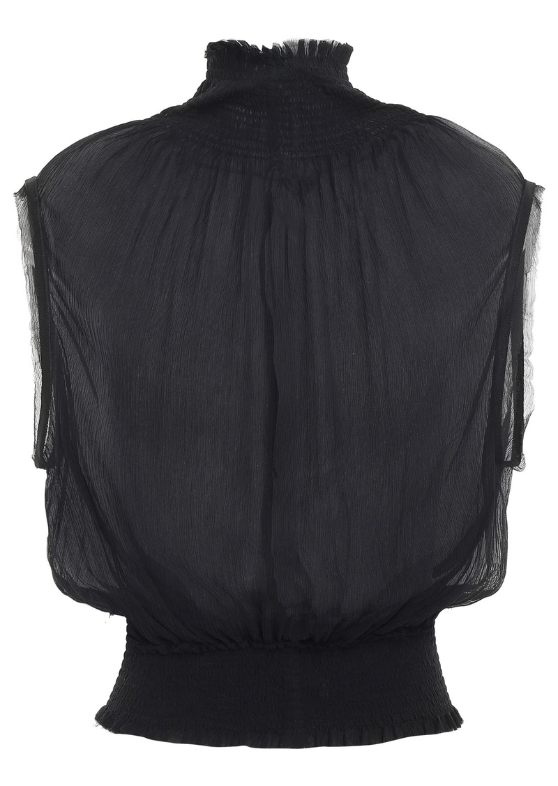 Ann Demeulemeester Woman Shirred Silk-georgette Top Black