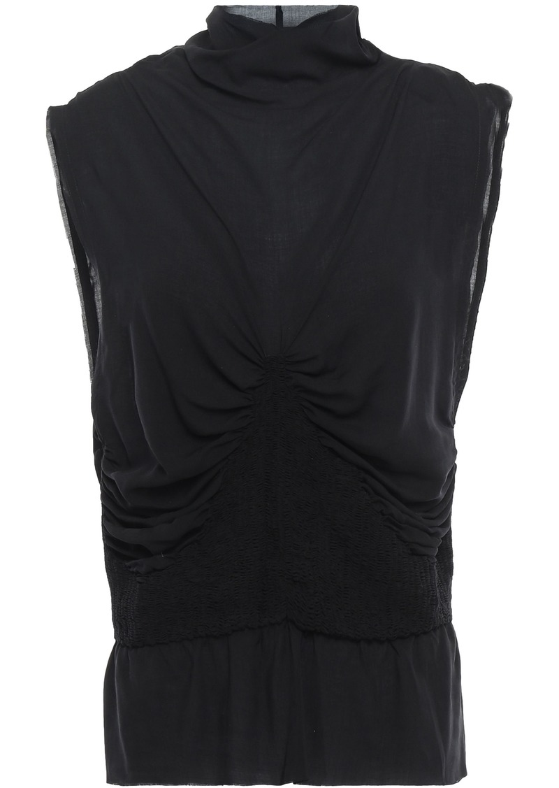 Ann Demeulemeester Woman Shirred Twill Top Black