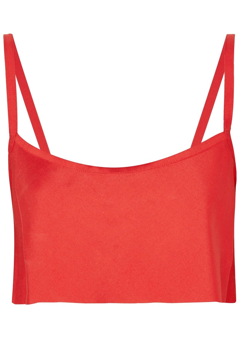 Ann Demeulemeester Woman Cropped Woven Top Red