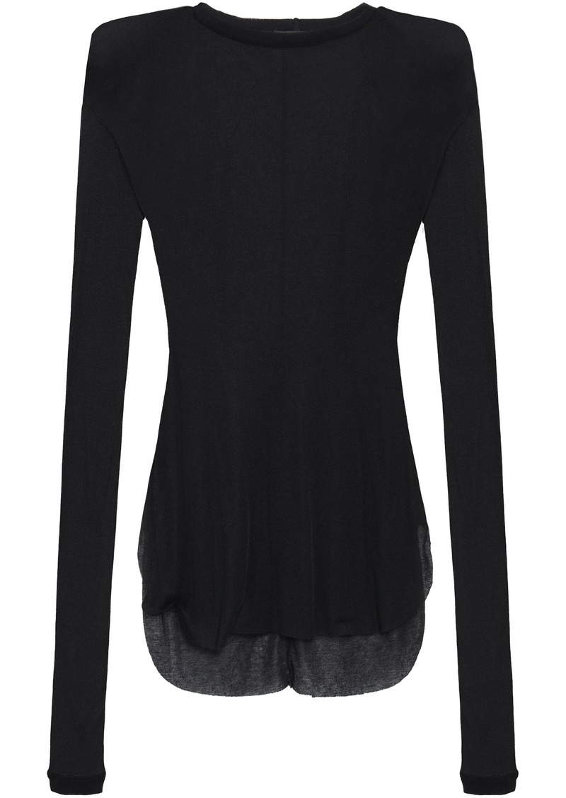 Ann Demeulemeester Woman Slub Stretch-jersey Top Black