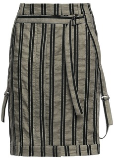 Ann Demeulemeester Woman Striped Cotton And Ramie-blend Twill Mini Skirt Mushroom