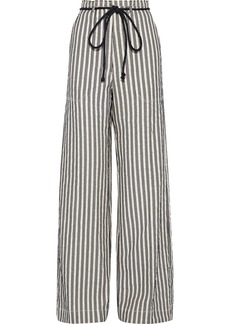 Ann Demeulemeester Woman Striped Cotton And Ramie-blend Wide-leg Pants Black
