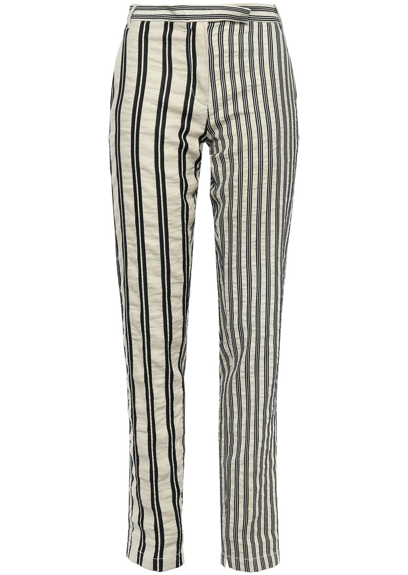 Ann Demeulemeester Woman Striped Crinkled Cotton And Ramie-blend Twill Tapered Pants Ecru