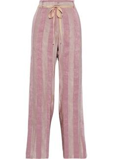 Ann Demeulemeester Woman Striped Linen-blend Wide-leg Pants Antique Rose