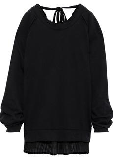 Ann Demeulemeester Woman Tie-beck French Cotton-terry And Devoré-velvet Sweatshirt Black