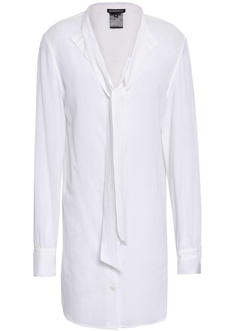 Ann Demeulemeester Woman Tie-neck Cotton-gauze Shirt White