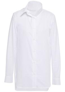 Ann Demeulemeester Woman Tie-neck Cotton-jacquard Shirt White