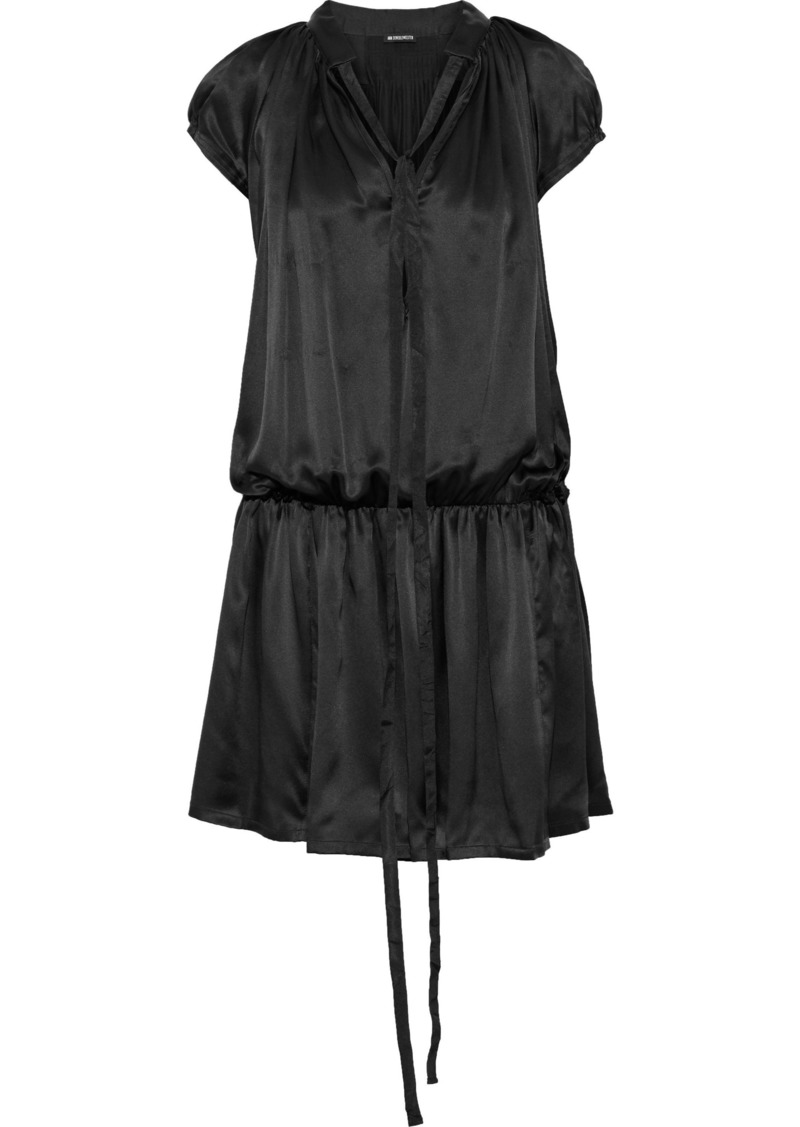 Ann Demeulemeester Woman Tie-neck Gathered Silk-satin Mini Dress Black