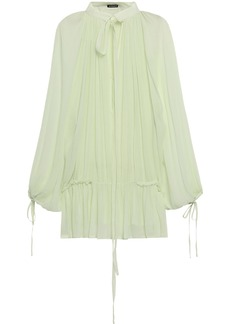 Ann Demeulemeester Woman Tie-neck Ruffle-trimmed Silk-georgette Blouse Light Green