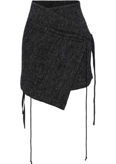 Ann Demeulemeester Woman Tweed Mini Wrap Skirt Black