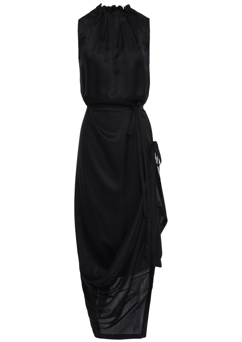 Ann Demeulemeester Woman Wrap-effect Pleated Mousseline Midi Dress Black