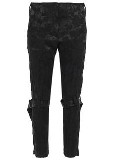 Ann Demeulemeester Woman Zip-detailed Satin-jacquard Slim-leg Pants Black