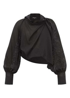 Ann Demeulemeester Wool-blend embroidered top