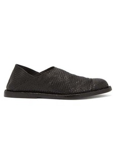 Ann Demeulemeester Woven collapsible-back leather loafers