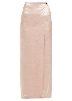 Ann Demeulemeester Wrap-front hammered-satin maxi skirt