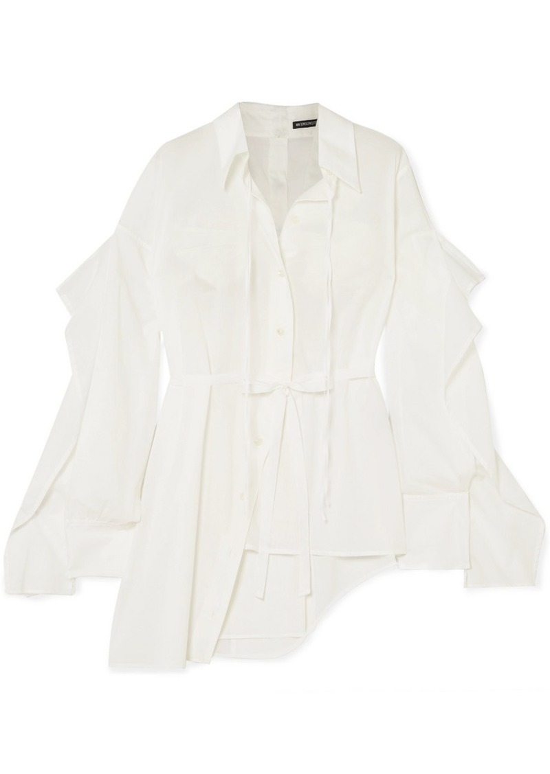 Ann Demeulemeester Asymmetric Paneled Cotton-poplin Shirt