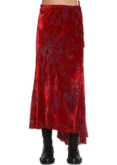 Ann Demeulemeester Asymmetric Velvet Jacquard Midi Skirt