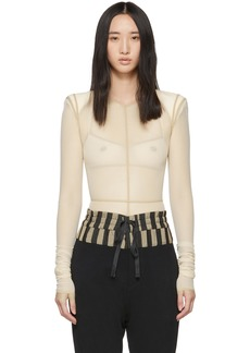Ann Demeulemeester Beige la fille d'O Edition Soft Tulle Constructed Bodysuit