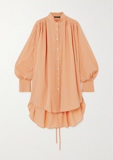 Ann Demeulemeester Belted Gathered Cotton And Cashmere-blend Shirt
