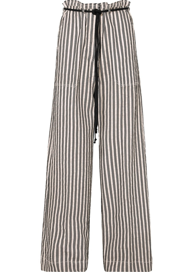 Ann Demeulemeester Belted Striped Cotton And Ramie-blend Wide-leg Pants