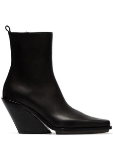 Ann Demeulemeester Black 100 leather wedge ankle boots