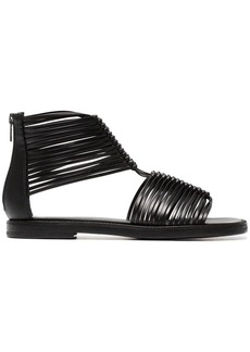 Ann Demeulemeester Black 20 multi strap leather sandals