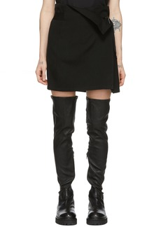 Ann Demeulemeester Black Wool Wrap Skirt