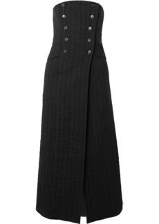 Ann Demeulemeester Convertible Pinstriped Linen-blend Midi Skirt