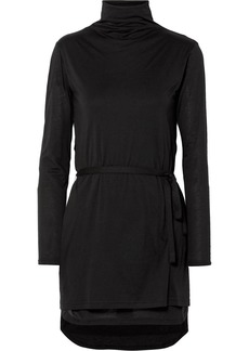Ann Demeulemeester Cotton And Silk-blend Jersey Turtleneck Top