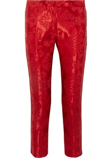 Ann Demeulemeester Cropped Cord-trimmed Satin-jacquard Straight-leg Pants