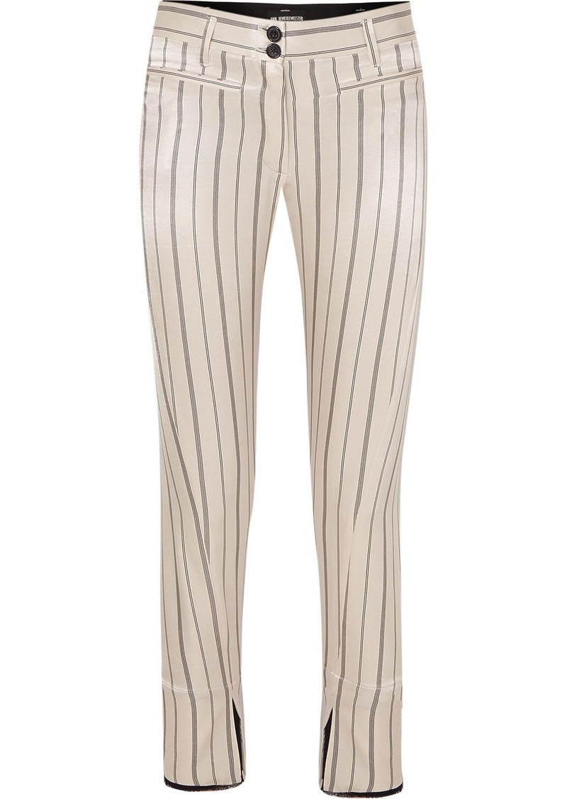 Ann Demeulemeester Cropped Striped Cotton-blend Satin Slim-leg Pants