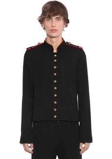 Ann Demeulemeester Cropped Wool & Cotton Military Jacket