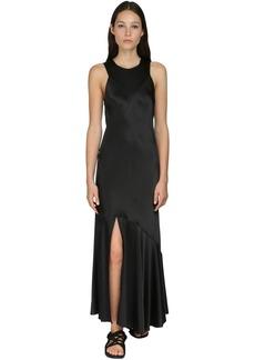 Ann Demeulemeester Draped Silk Satin Midi Dress