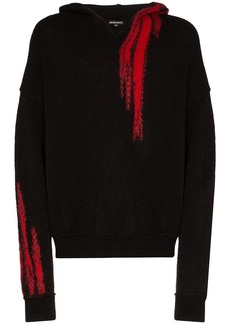 Ann Demeulemeester embroidered knit hoodie