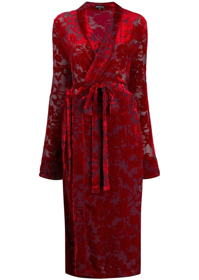 Ann Demeulemeester floral jacquard wrap dress
