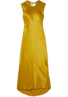 Ann Demeulemeester Frayed Hammered-satin Maxi Dress