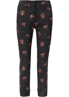 Ann Demeulemeester Georgette-trimmed Cotton-blend Floral-jacquard Slim-fit Pants
