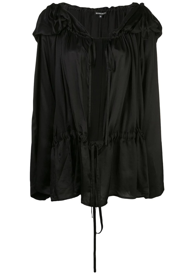 Ann Demeulemeester hooded pleated blouse