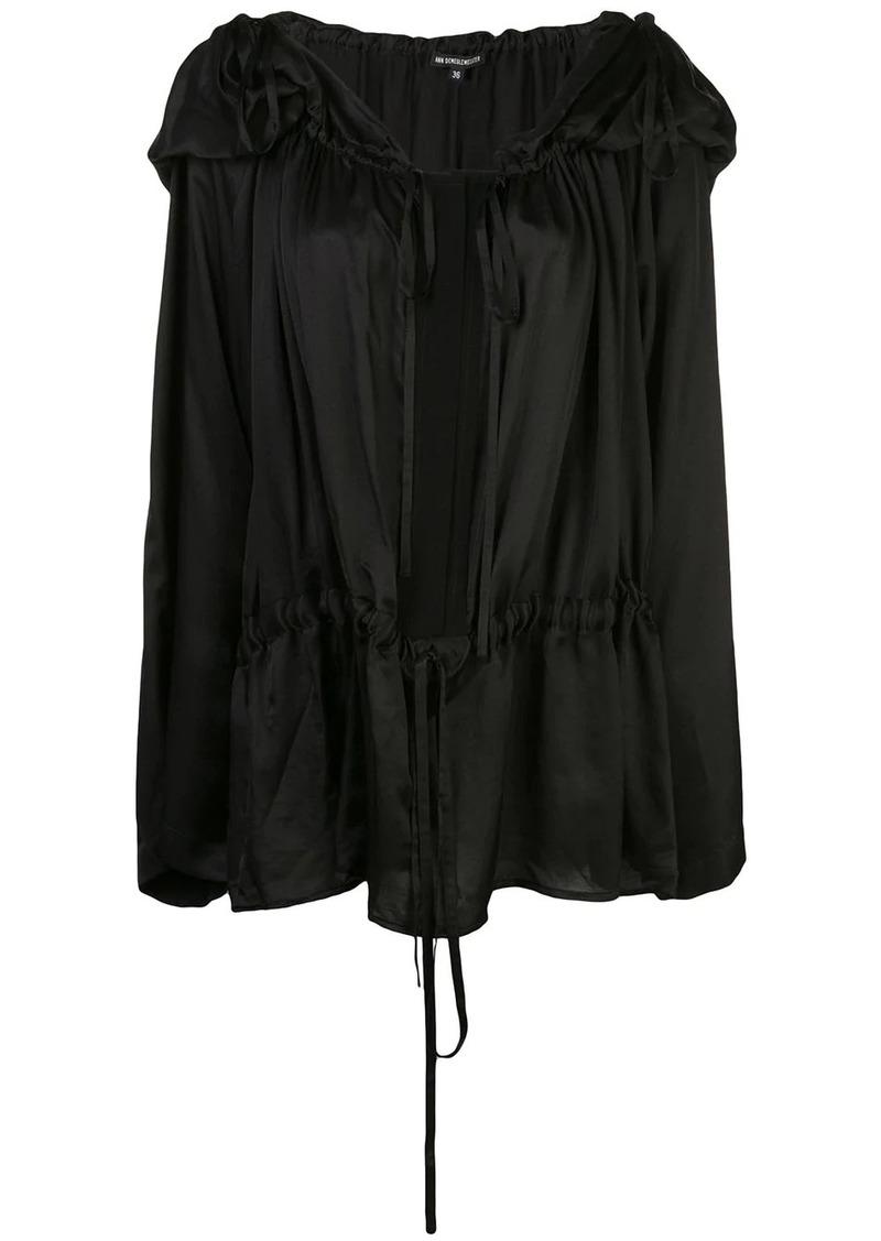Ann Demeulemeester hooded pleated blouse