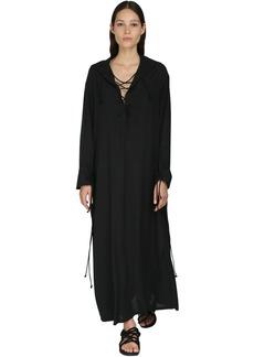 Ann Demeulemeester Lace-up Fluid Viscose Shirt Dress